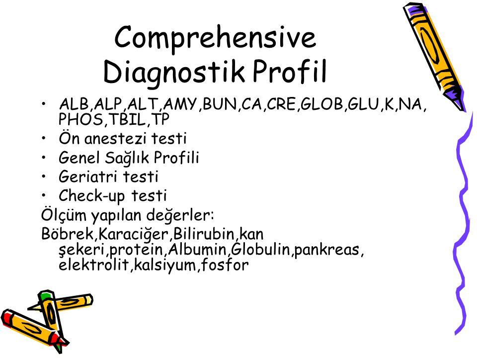 Comprehensive Diagnostik Profil ALB,ALP,ALT,AMY,BUN,CA,CRE,GLOB,GLU,K,NA, PHOS,TBIL,TP Ön anestezi testi Genel Sağlık Profili Geriatri testi Check-up