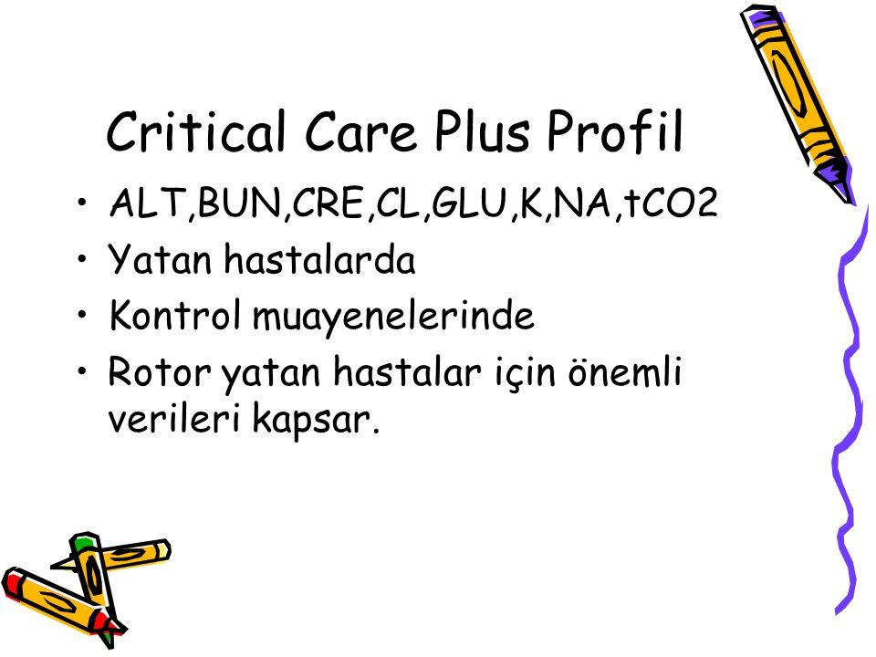 Critical Care Plus Profil ALT,BUN,CRE,CL,GLU,K,NA,tCO2 Yatan hastalarda Kontrol muayenelerinde Rotor yatan hastalar için önemli verileri kapsar.