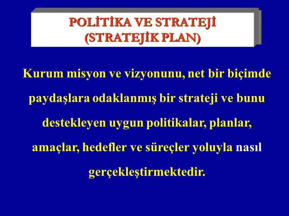 Kurum misyon ve vizyonunu, net bir biçimde paydaşlara odaklanmış bir strateji ve bunu destekleyen uygun politikalar, planlar, amaçlar, hedefler ve süreçler yoluyla nasıl gerçekleştirmektedir.
