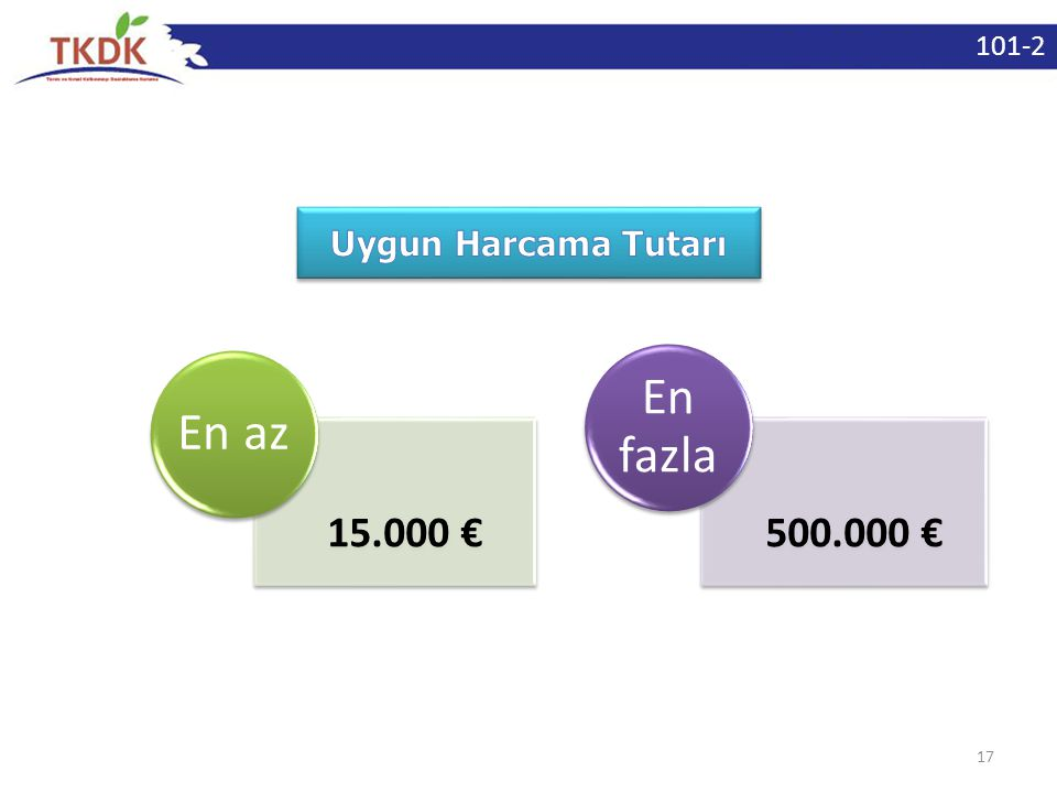 17 15.000 € En az 500.000 € En fazla 101-2