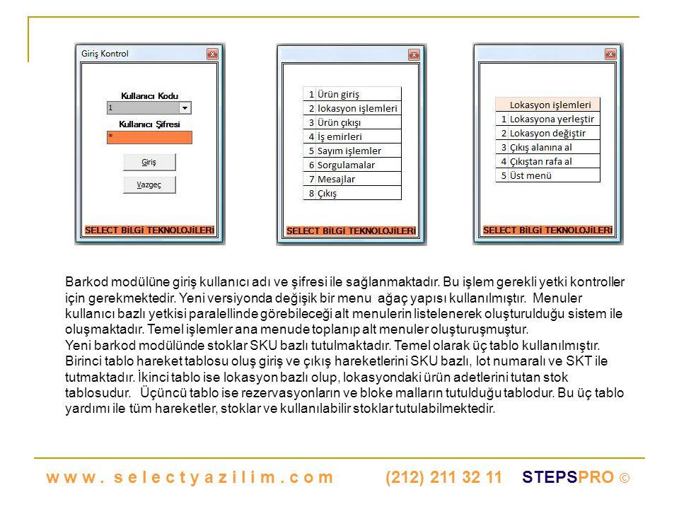 Barkod modülüne giriş kullanıcı adı ve şifresi ile sağlanmaktadır.