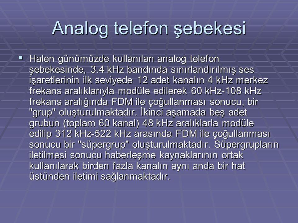 Analog telefon şebekesi  Halen günümüzde kullanılan analog telefon şebekesinde, 3.4 kHz bandında sınırlandırılmış ses işaretlerinin ilk seviyede 12 adet kanalın 4 kHz merkez frekans aralıklarıyla modüle edilerek 60 kHz-108 kHz frekans aralığında FDM ile çoğullanması sonucu, bir grup oluşturulmaktadır.