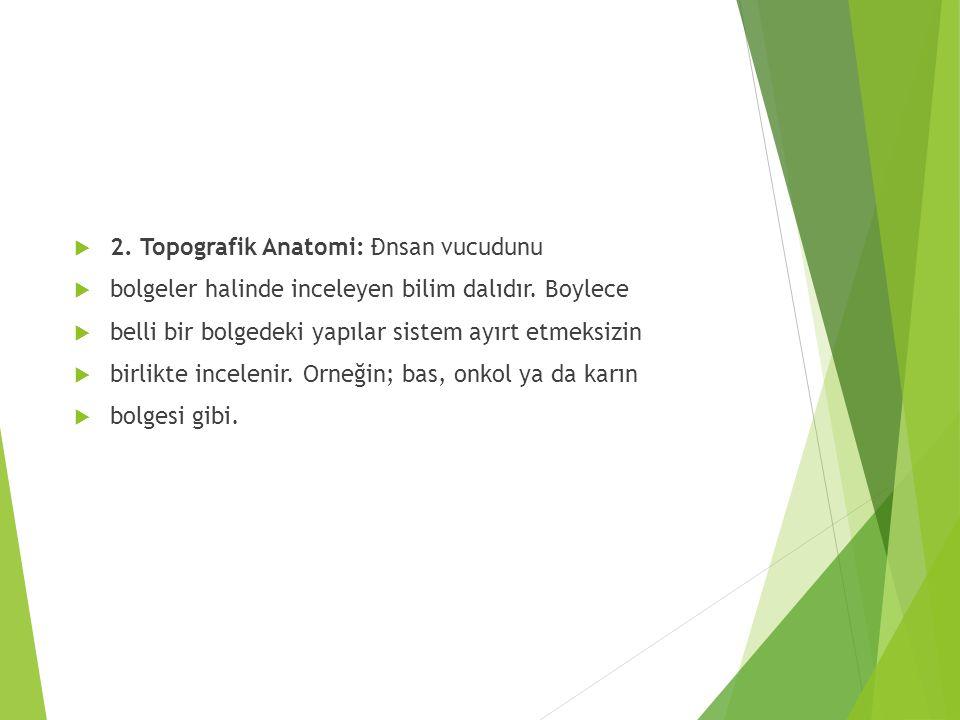  2. Topografik Anatomi: Đnsan vucudunu  bolgeler halinde inceleyen bilim dalıdır. Boylece  belli bir bolgedeki yapılar sistem ayırt etmeksizin  bi
