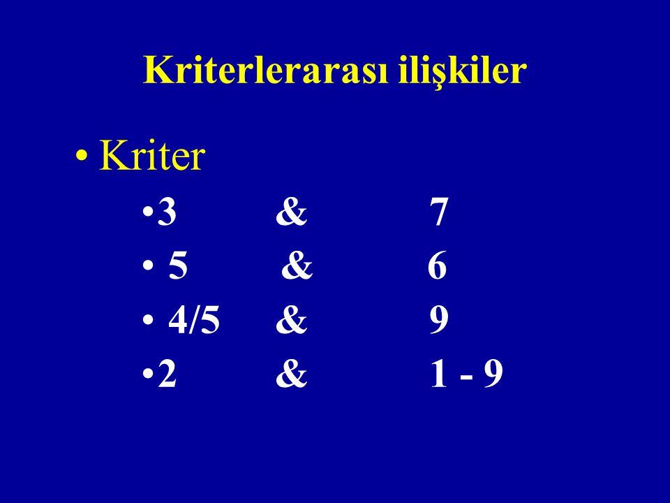 Kriterlerarası ilişkiler Kriter 3& 7 5 & 6 4/5& 9 2& 1 - 9