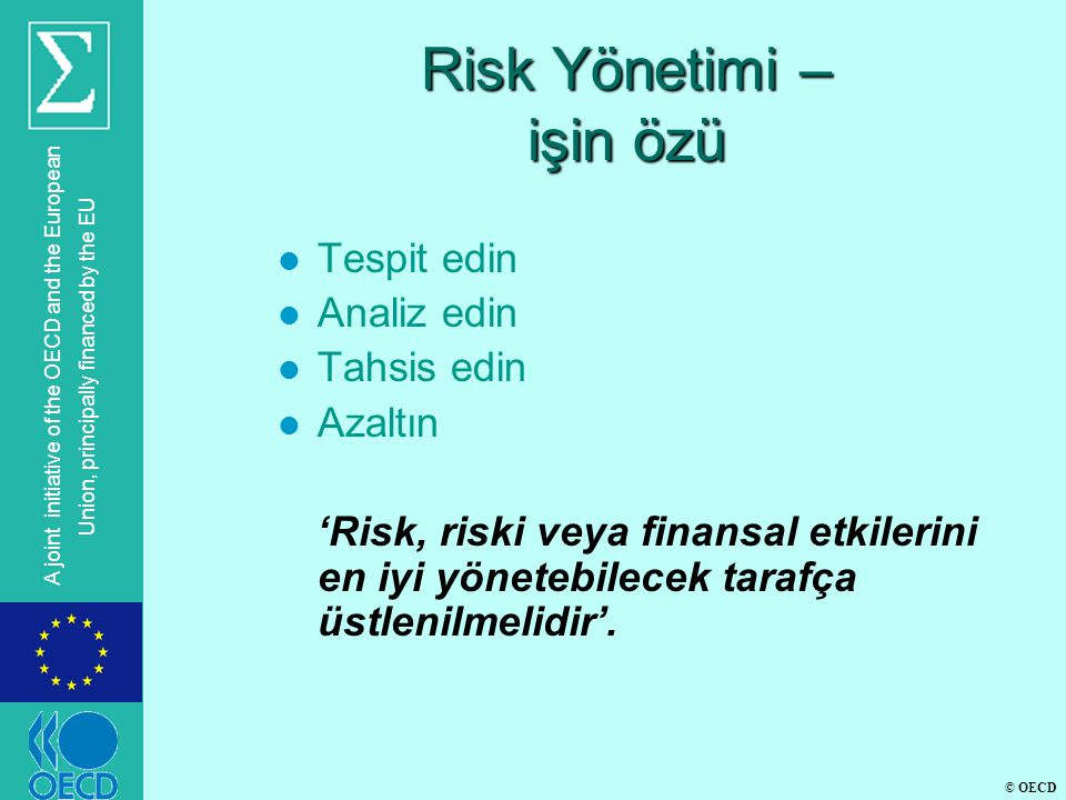 © OECD A joint initiative of the OECD and the European Union, principally financed by the EU Risk Yönetimi – işin özü l Tespit edin l Analiz edin l Tahsis edin l Azaltın 'Risk, riski veya finansal etkilerini en iyi yönetebilecek tarafça üstlenilmelidir'.