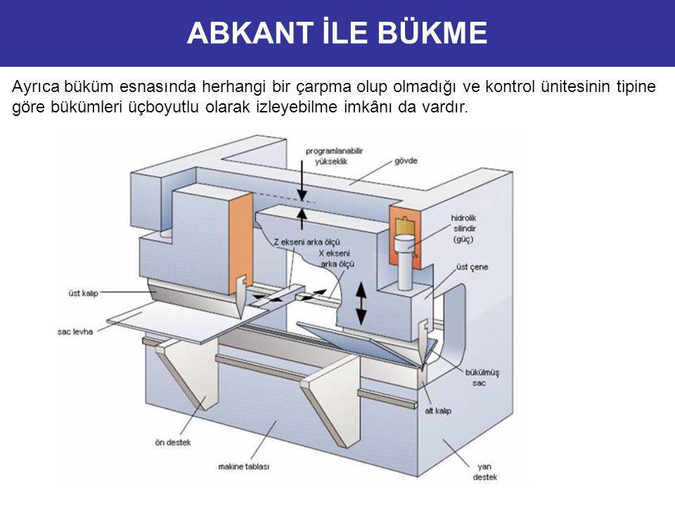 Ayrıca büküm esnasında herhangi bir çarpma olup olmadığı ve kontrol ünitesinin tipine göre bükümleri üçboyutlu olarak izleyebilme imkânı da vardır. AB