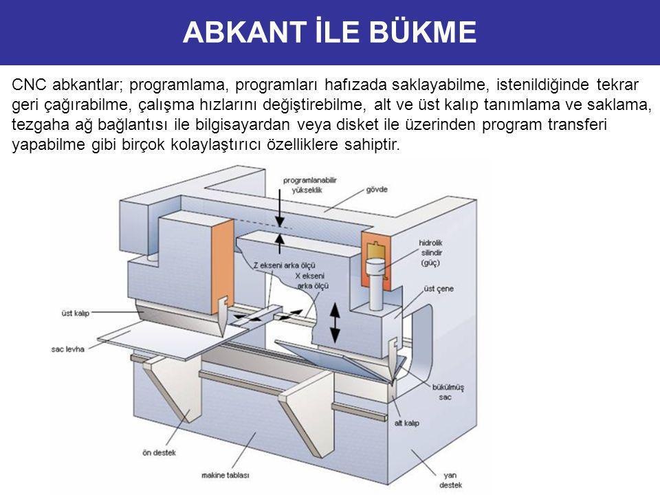 CNC abkantlar; programlama, programları hafızada saklayabilme, istenildiğinde tekrar geri çağırabilme, çalışma hızlarını değiştirebilme, alt ve üst ka