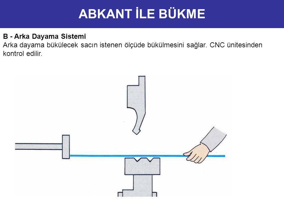 B - Arka Dayama Sistemi Arka dayama bükülecek sacın istenen ölçüde bükülmesini sağlar. CNC ünitesinden kontrol edilir. ABKANT İLE BÜKME