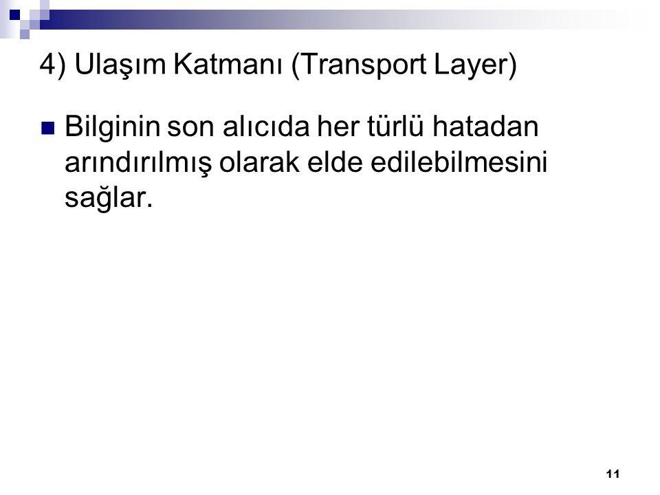 11 4) Ulaşım Katmanı (Transport Layer) Bilginin son alıcıda her türlü hatadan arındırılmış olarak elde edilebilmesini sağlar.