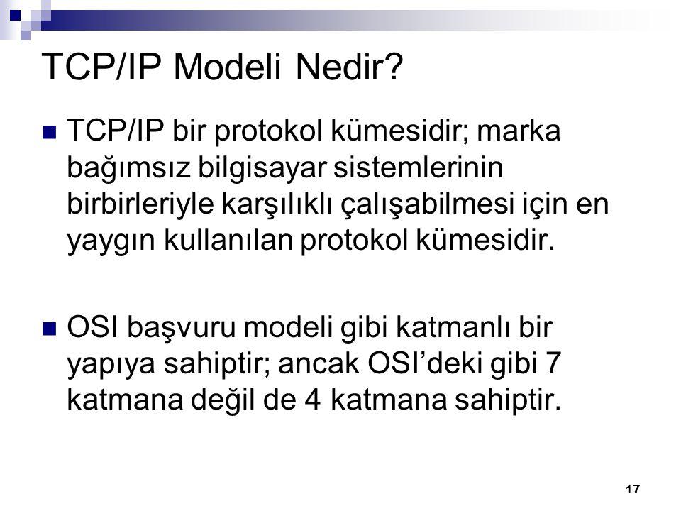 17 TCP/IP Modeli Nedir? TCP/IP bir protokol kümesidir; marka bağımsız bilgisayar sistemlerinin birbirleriyle karşılıklı çalışabilmesi için en yaygın k