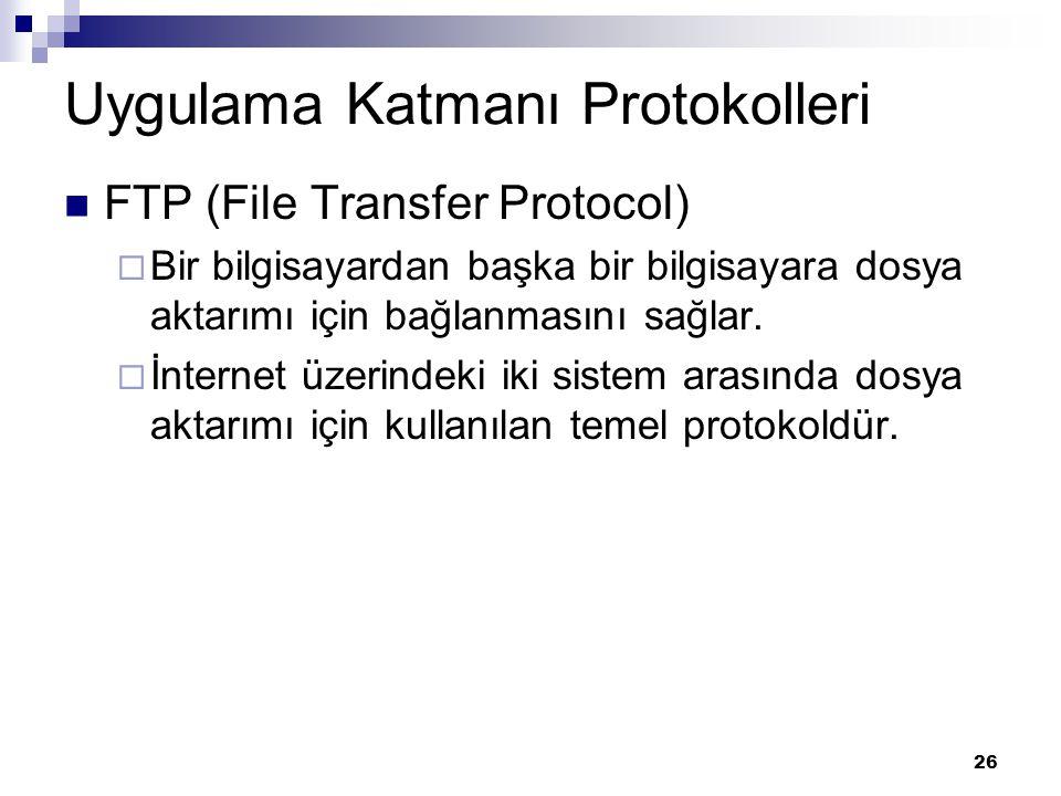 26 Uygulama Katmanı Protokolleri FTP (File Transfer Protocol)  Bir bilgisayardan başka bir bilgisayara dosya aktarımı için bağlanmasını sağlar.  İnt