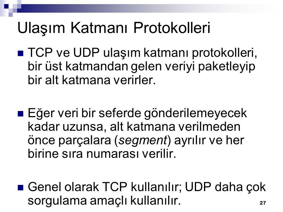 27 Ulaşım Katmanı Protokolleri TCP ve UDP ulaşım katmanı protokolleri, bir üst katmandan gelen veriyi paketleyip bir alt katmana verirler. Eğer veri b
