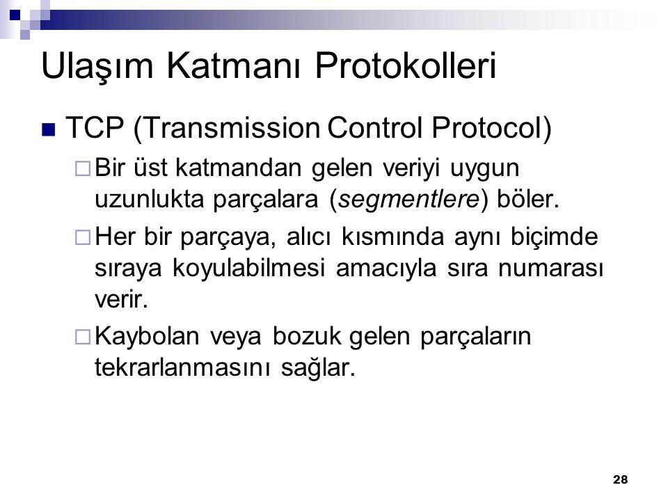28 Ulaşım Katmanı Protokolleri TCP (Transmission Control Protocol)  Bir üst katmandan gelen veriyi uygun uzunlukta parçalara (segmentlere) böler.  H