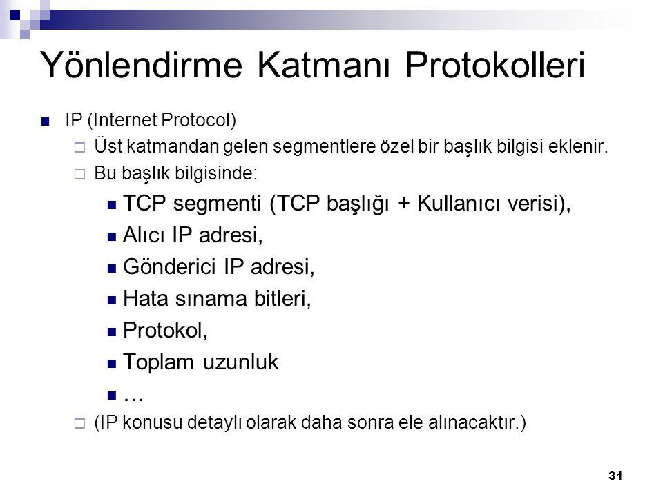 31 Yönlendirme Katmanı Protokolleri IP (Internet Protocol)  Üst katmandan gelen segmentlere özel bir başlık bilgisi eklenir.  Bu başlık bilgisinde: