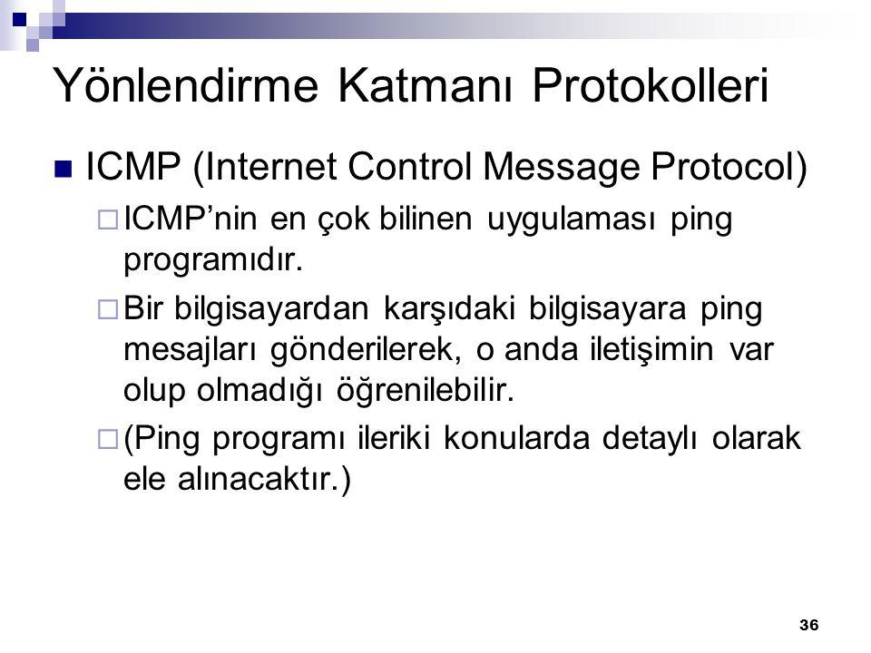 36 Yönlendirme Katmanı Protokolleri ICMP (Internet Control Message Protocol)  ICMP'nin en çok bilinen uygulaması ping programıdır.  Bir bilgisayarda