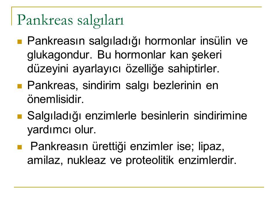 Pankreas salgıları Pankreasın salgıladığı hormonlar insülin ve glukagondur. Bu hormonlar kan şekeri düzeyini ayarlayıcı özelliğe sahiptirler. Pankreas