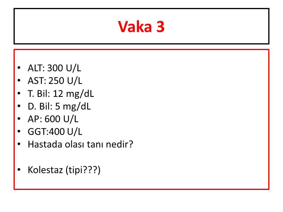 Vaka 3 ALT: 300 U/L AST: 250 U/L T. Bil: 12 mg/dL D. Bil: 5 mg/dL AP: 600 U/L GGT:400 U/L Hastada olası tanı nedir? Kolestaz (tipi???)