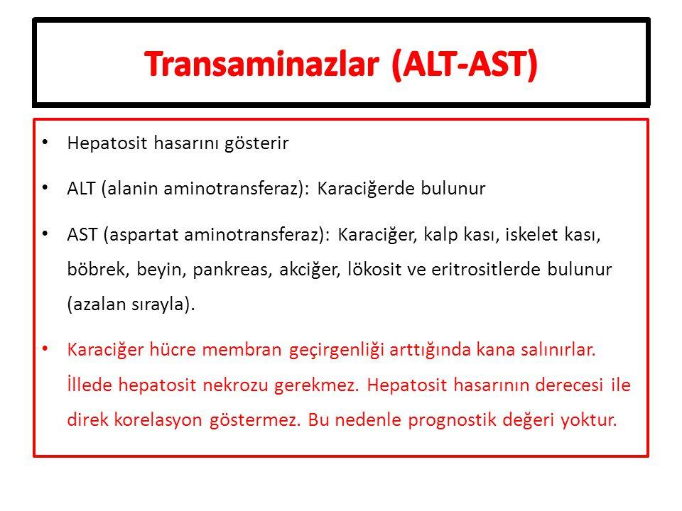 Transaminazlar (ALT-AST) Hepatosit hasarını gösterir ALT (alanin aminotransferaz): Karaciğerde bulunur AST (aspartat aminotransferaz): Karaciğer, kalp kası, iskelet kası, böbrek, beyin, pankreas, akciğer, lökosit ve eritrositlerde bulunur (azalan sırayla).
