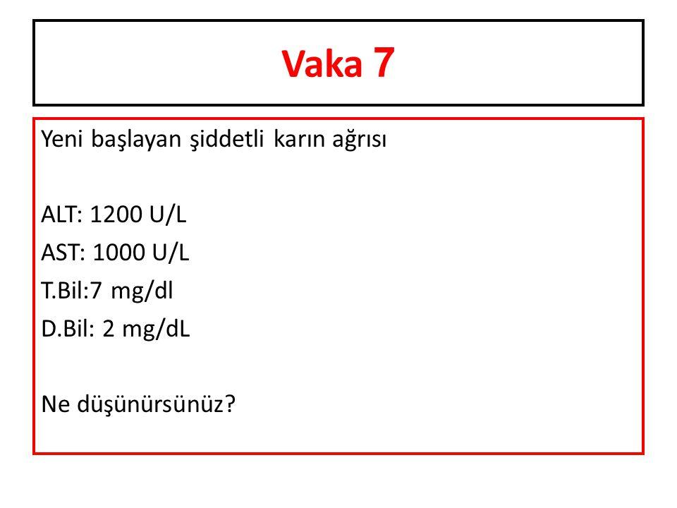 Vaka 7 Yeni başlayan şiddetli karın ağrısı ALT: 1200 U/L AST: 1000 U/L T.Bil:7 mg/dl D.Bil: 2 mg/dL Ne düşünürsünüz?