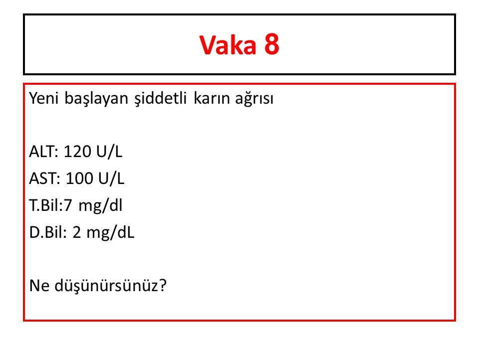 Yeni başlayan şiddetli karın ağrısı ALT: 120 U/L AST: 100 U/L T.Bil:7 mg/dl D.Bil: 2 mg/dL Ne düşünürsünüz? Vaka 8