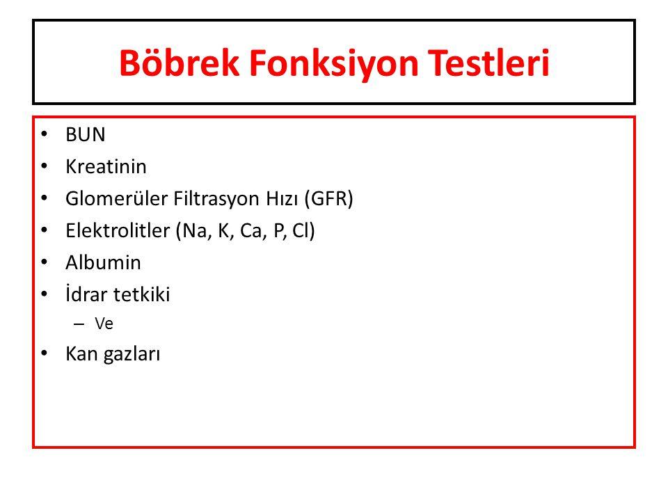 Böbrek Fonksiyon Testleri BUN Kreatinin Glomerüler Filtrasyon Hızı (GFR) Elektrolitler (Na, K, Ca, P, Cl) Albumin İdrar tetkiki – Ve Kan gazları