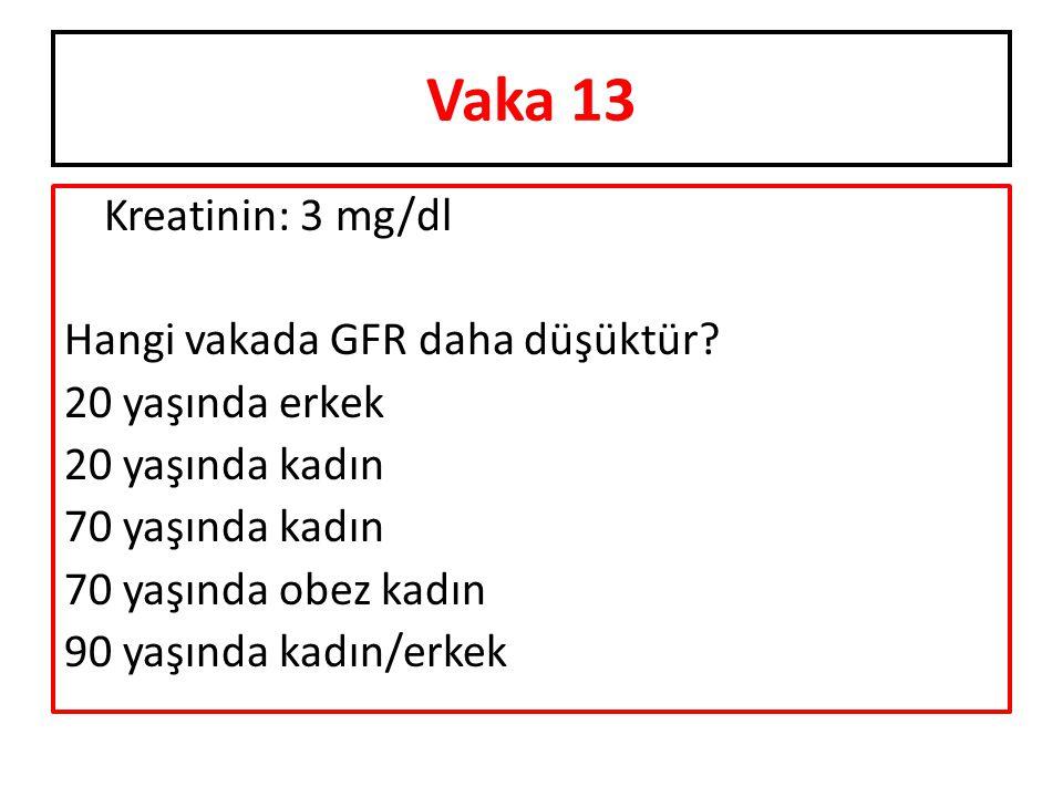 Kreatinin: 3 mg/dl Hangi vakada GFR daha düşüktür? 20 yaşında erkek 20 yaşında kadın 70 yaşında kadın 70 yaşında obez kadın 90 yaşında kadın/erkek Vak