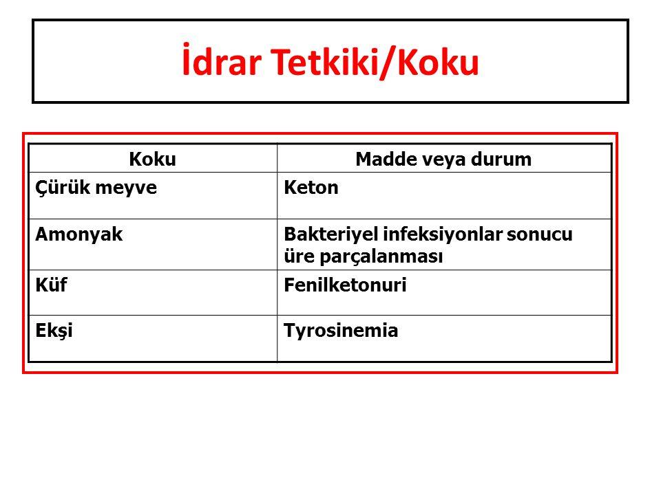 İdrar Tetkiki/Koku KokuMadde veya durum Çürük meyveKeton AmonyakBakteriyel infeksiyonlar sonucu üre parçalanması KüfFenilketonuri EkşiTyrosinemia