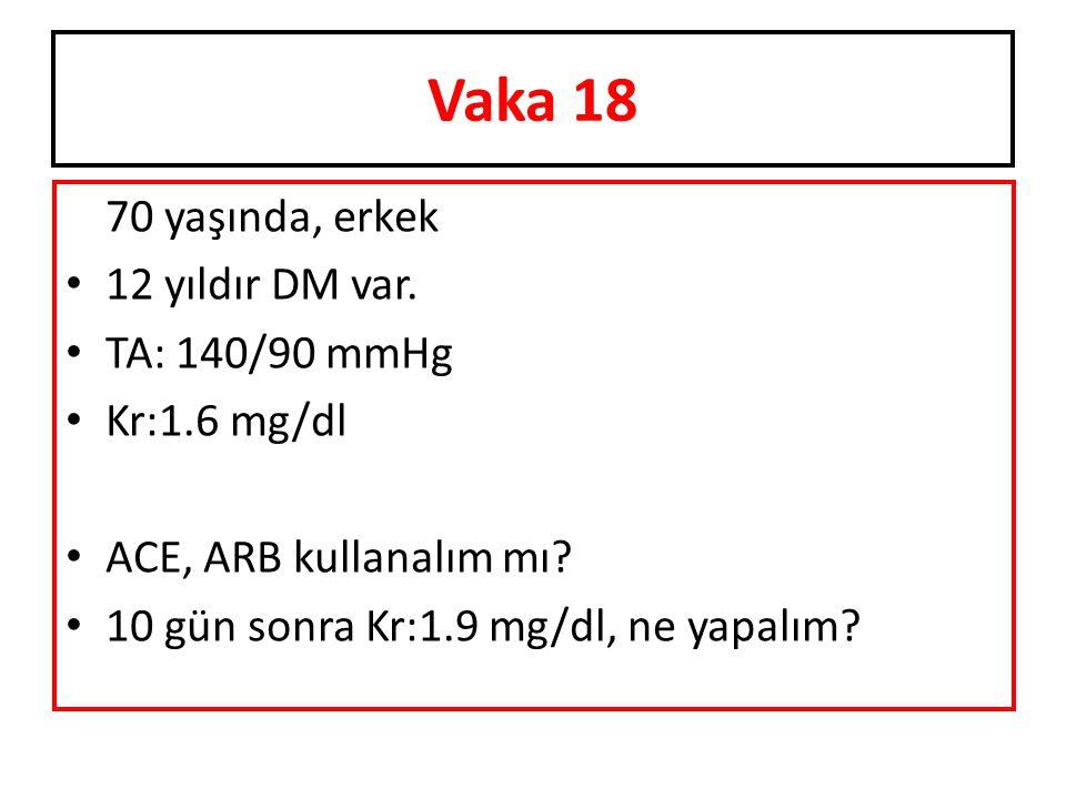 70 yaşında, erkek 12 yıldır DM var. TA: 140/90 mmHg Kr:1.6 mg/dl ACE, ARB kullanalım mı? 10 gün sonra Kr:1.9 mg/dl, ne yapalım? Vaka 18