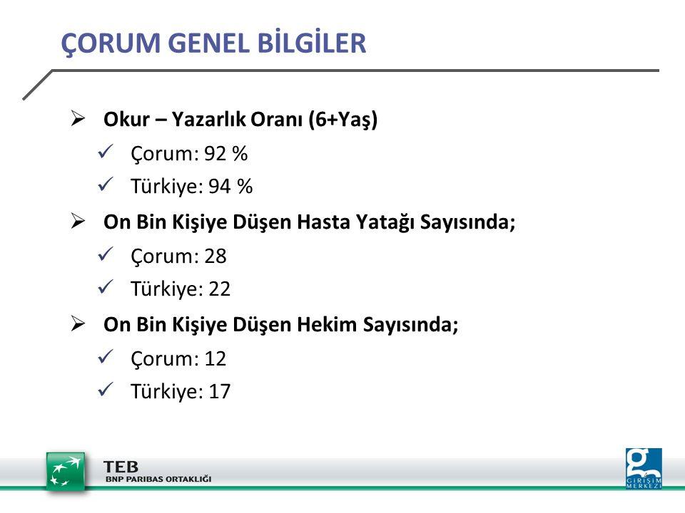 4  Okur – Yazarlık Oranı (6+Yaş) Çorum: 92 % Türkiye: 94 %  On Bin Kişiye Düşen Hasta Yatağı Sayısında; Çorum: 28 Türkiye: 22  On Bin Kişiye Düşen