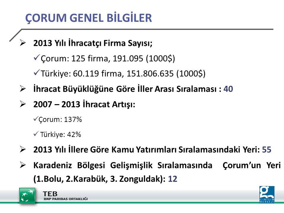 5  2013 Yılı İhracatçı Firma Sayısı; Çorum: 125 firma, 191.095 (1000$) Türkiye: 60.119 firma, 151.806.635 (1000$)  İhracat Büyüklüğüne Göre İller Ar