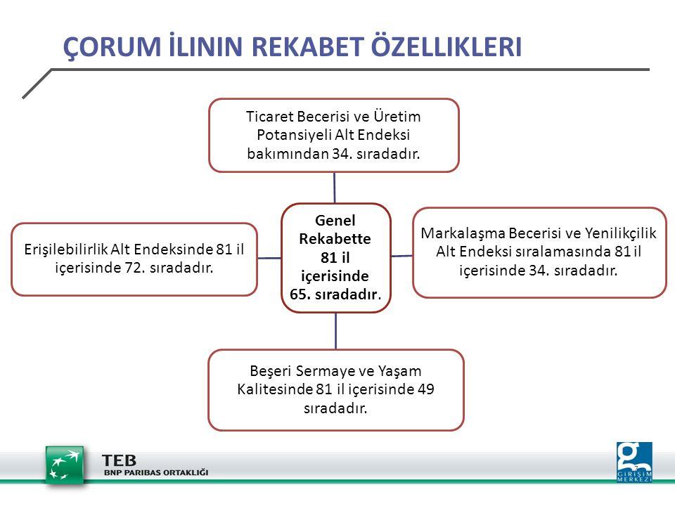 18 YATIRIM TEŞVİK BELGELERİ-İHRACAT YORUMLARI Çorum ilinde Seramik sektörü 2 belge ve 55 Milyon TL'lik sabit yatırım ile üçüncü sırada, Çorum'da Seramik sektöründe belge başına ortalama 27 Milyon TL, Türkiye'de ise 12 Milyon TL sabit yatırım 70 Milyon $ ile il ihracatından %43 pay alan Makine ve Aksamları sektörü ilk sırada yer almaktadır.
