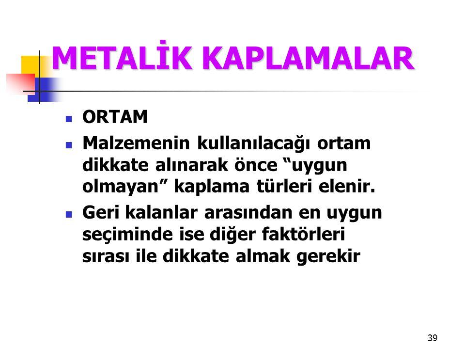 """39 ORTAM Malzemenin kullanılacağı ortam dikkate alınarak önce """"uygun olmayan"""" kaplama türleri elenir. Geri kalanlar arasından en uygun seçiminde ise d"""