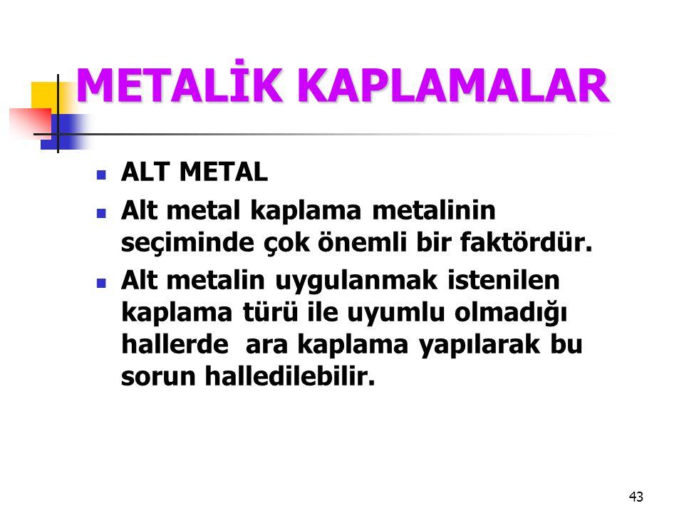 43 ALT METAL Alt metal kaplama metalinin seçiminde çok önemli bir faktördür. Alt metalin uygulanmak istenilen kaplama türü ile uyumlu olmadığı hallerd