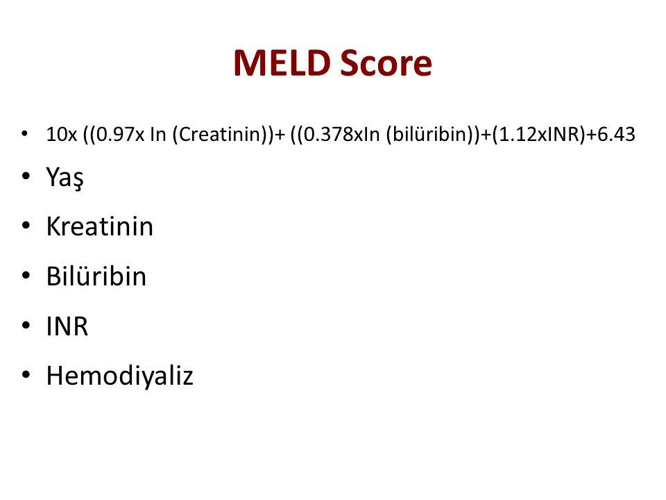 MELD Score 10x ((0.97x In (Creatinin))+ ((0.378xIn (bilüribin))+(1.12xINR)+6.43 Yaş Kreatinin Bilüribin INR Hemodiyaliz