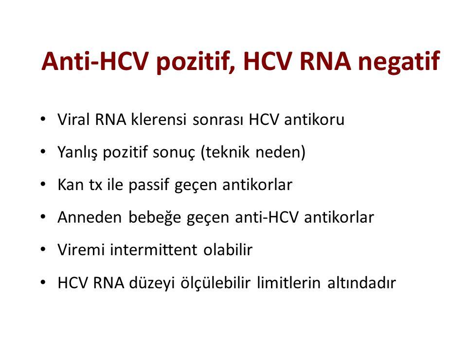 Anti-HCV pozitif, HCV RNA negatif Viral RNA klerensi sonrası HCV antikoru Yanlış pozitif sonuç (teknik neden) Kan tx ile passif geçen antikorlar Anned