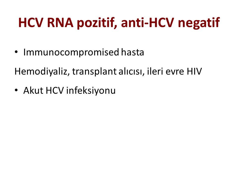 HCV RNA pozitif, anti-HCV negatif Immunocompromised hasta Hemodiyaliz, transplant alıcısı, ileri evre HIV Akut HCV infeksiyonu