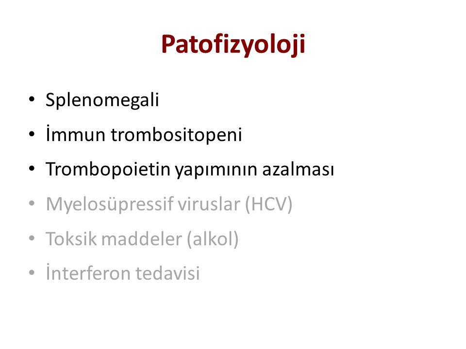 Patofizyoloji Splenomegali İmmun trombositopeni Trombopoietin yapımının azalması Myelosüpressif viruslar (HCV) Toksik maddeler (alkol) İnterferon teda