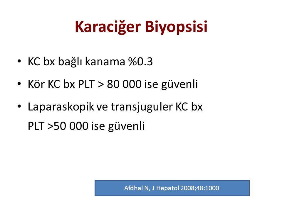 Karaciğer Biyopsisi KC bx bağlı kanama %0.3 Kör KC bx PLT > 80 000 ise güvenli Laparaskopik ve transjuguler KC bx PLT >50 000 ise güvenli Afdhal N, J