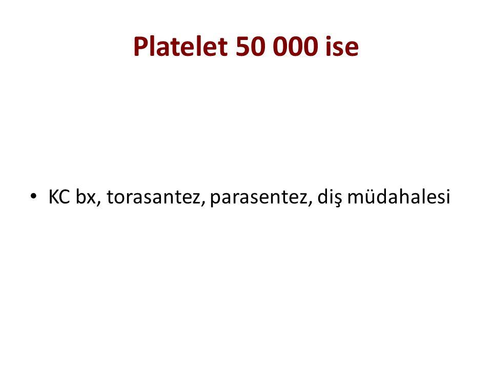 Platelet 50 000 ise KC bx, torasantez, parasentez, diş müdahalesi