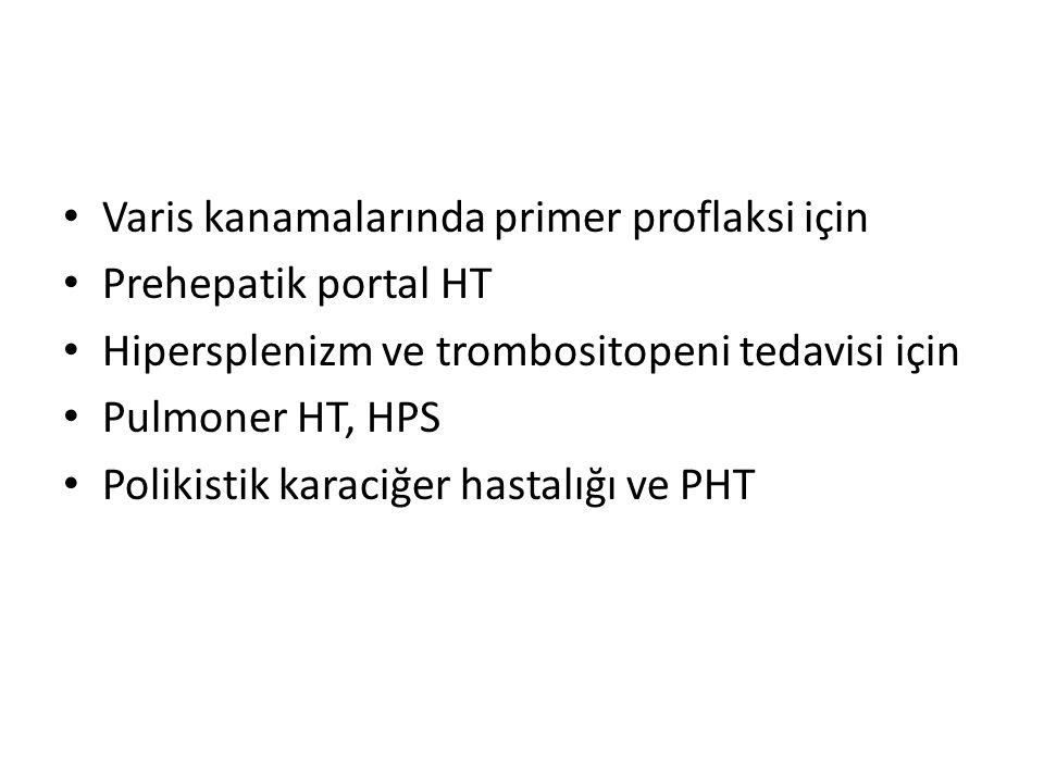 Varis kanamalarında primer proflaksi için Prehepatik portal HT Hipersplenizm ve trombositopeni tedavisi için Pulmoner HT, HPS Polikistik karaciğer has