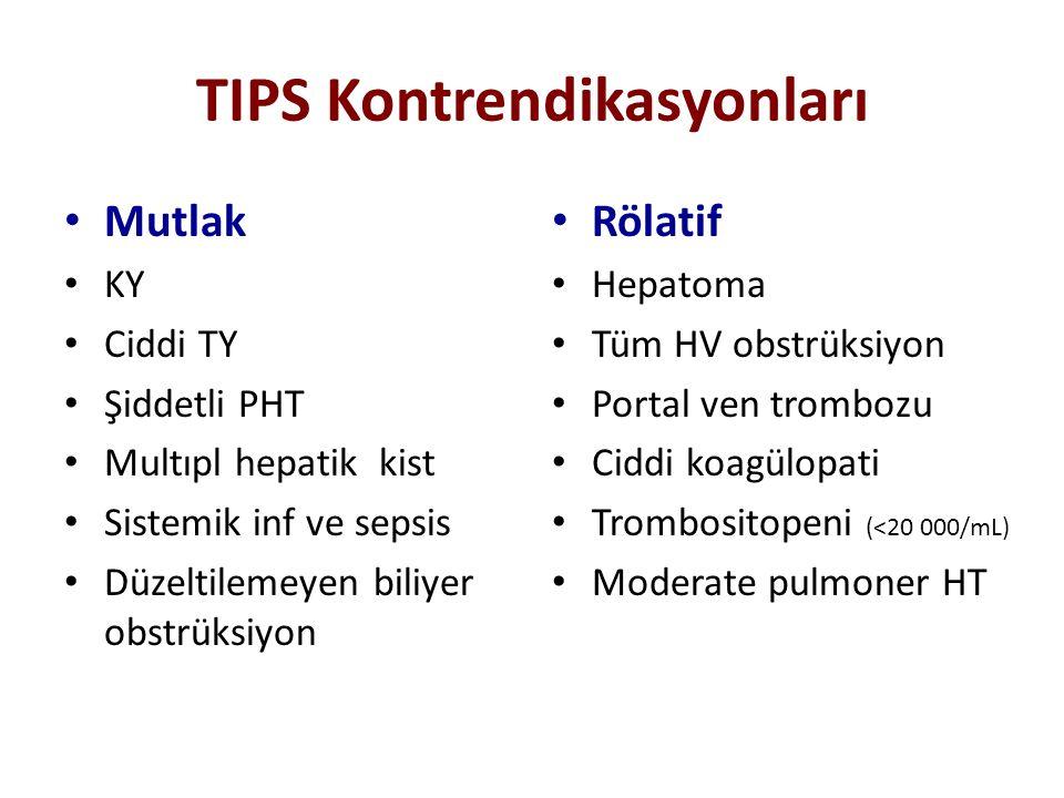 TIPS Kontrendikasyonları Mutlak KY Ciddi TY Şiddetli PHT Multıpl hepatik kist Sistemik inf ve sepsis Düzeltilemeyen biliyer obstrüksiyon Rölatif Hepat