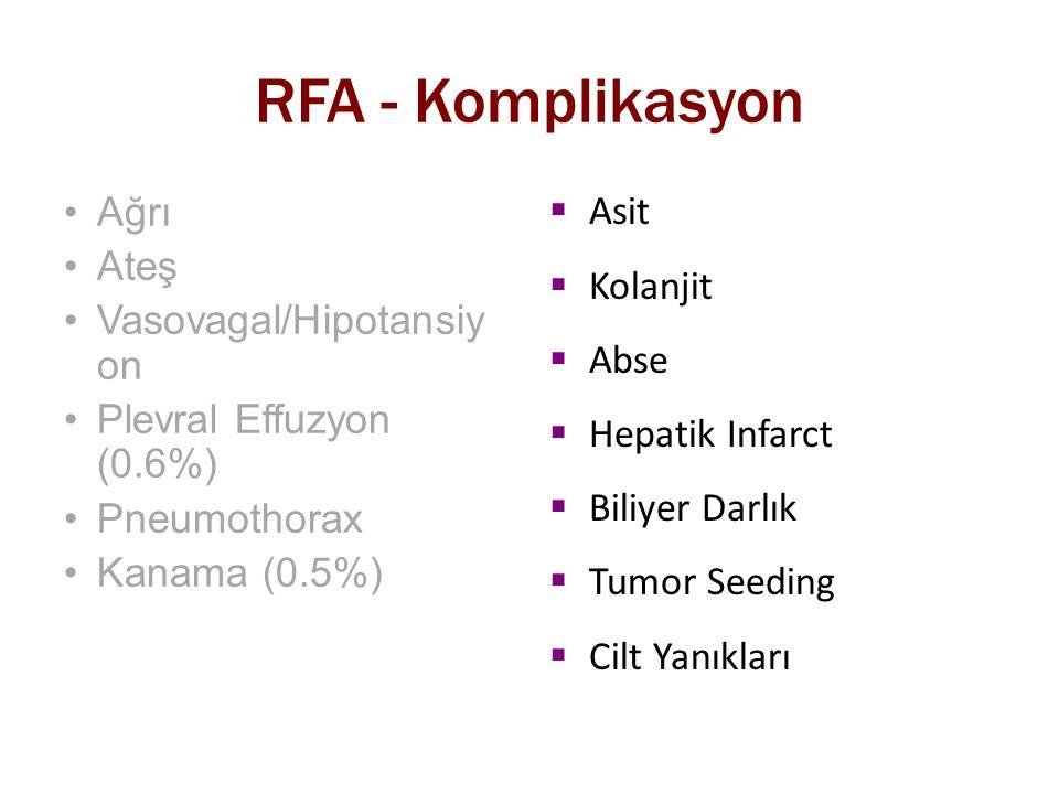 RFA - Komplikasyon Ağrı Ateş Vasovagal/Hipotansiy on Plevral Effuzyon (0.6%) Pneumothorax Kanama (0.5%)  Asit  Kolanjit  Abse  Hepatik Infarct  B