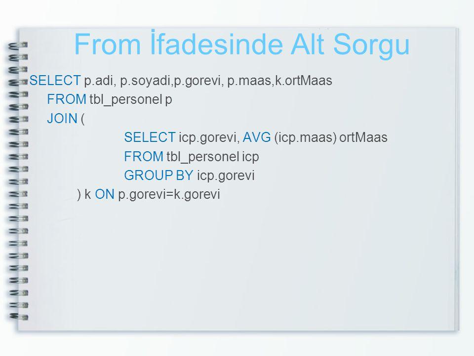 From İfadesinde Alt Sorgu SELECT p.adi, p.soyadi,p.gorevi, p.maas,k.ortMaas FROM tbl_personel p JOIN ( SELECT icp.gorevi, AVG (icp.maas) ortMaas FROM