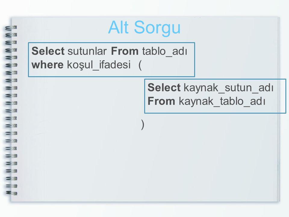 Alt Sorgu Select sutunlar From tablo_adı where koşul_ifadesi ( Select kaynak_sutun_adı From kaynak_tablo_adı )