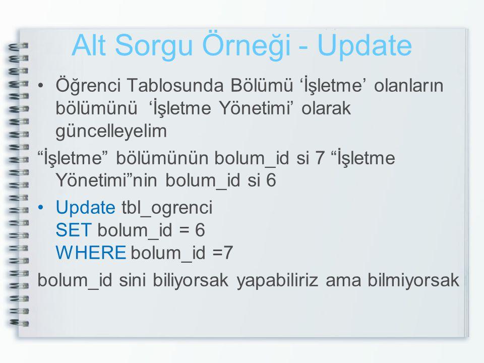 Alt Sorgu Örneği - Update UPDATE tbl_ogrenci SET bolum_id = ( SELECT b.bolum_id FROM tbl_bolum b WHERE b.bolumAd='İşletme Yönetimi' ) WHERE bolum_id = ( SELECT b.bolum_id FROM tbl_bolum b WHERE b.bolumAd='İşletme' )