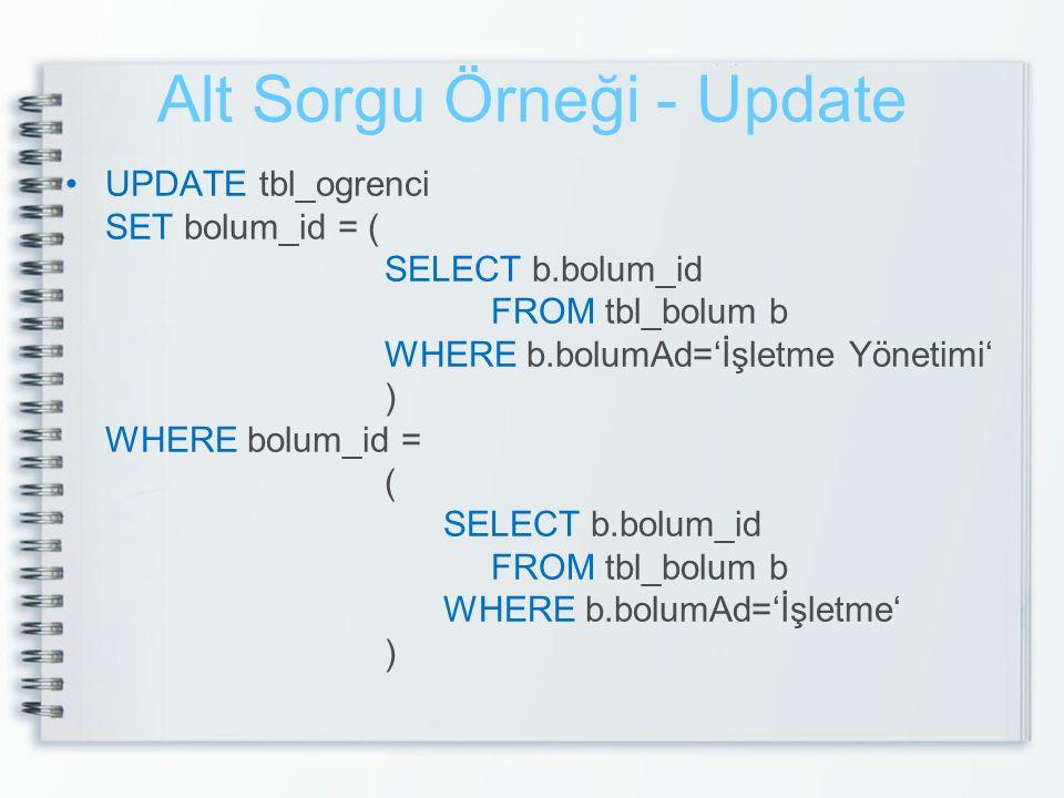 Alt Sorgu Örneği - Update UPDATE tbl_ogrenci SET bolum_id = ( SELECT b.bolum_id FROM tbl_bolum b WHERE b.bolumAd='İşletme Yönetimi' ) WHERE bolum_id =