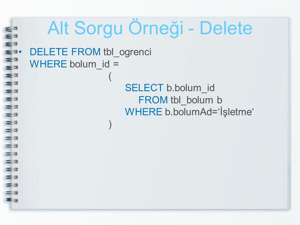 Alt Sorgu Örneği - Delete DELETE FROM tbl_ogrenci WHERE bolum_id = ( SELECT b.bolum_id FROM tbl_bolum b WHERE b.bolumAd='İşletme' )