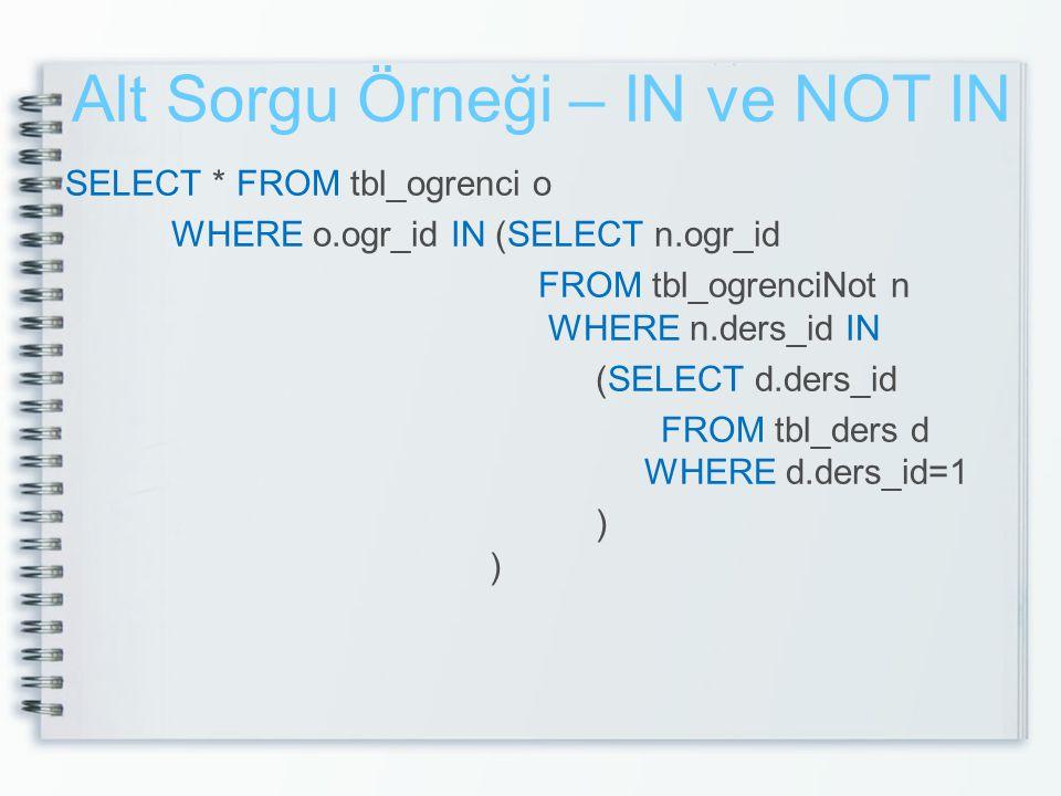Alt Sorgu Örneği – IN ve NOT IN SELECT * FROM tbl_ogrenci o WHERE o.ogr_id IN (SELECT n.ogr_id FROM tbl_ogrenciNot n WHERE n.ders_id IN (SELECT d.ders