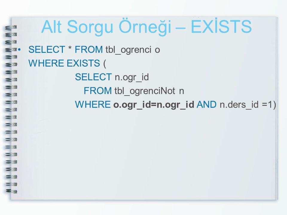 Alt Sorgu Örneği – EXİSTS SELECT * FROM tbl_ogrenci o WHERE EXISTS ( SELECT n.ogr_id FROM tbl_ogrenciNot n WHERE o.ogr_id=n.ogr_id AND n.ders_id =1)