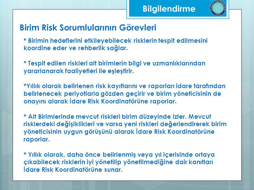 Bilgilendirme Birim Risk Sorumlularının Görevleri * Birimin hedeflerini etkileyebilecek risklerin tespit edilmesini koordine eder ve rehberlik sağlar.